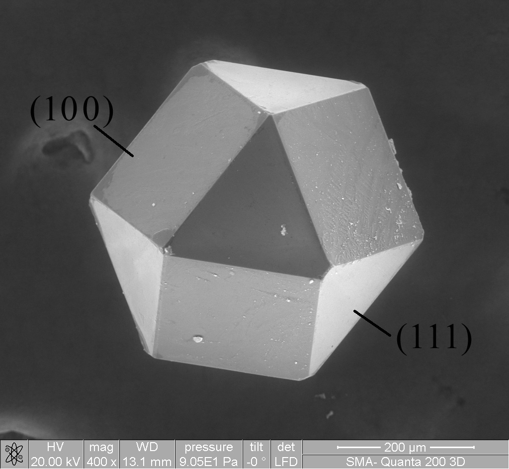 Cuboctahedron-shaped crystal of the synthetic diamond obtained in the Laboratory of the High-Temperature Materials of the Moscow Steel and Alloys Institute. Picture are taken with QUANTA-3D scanning electron microscope. Facet indices are shown.
