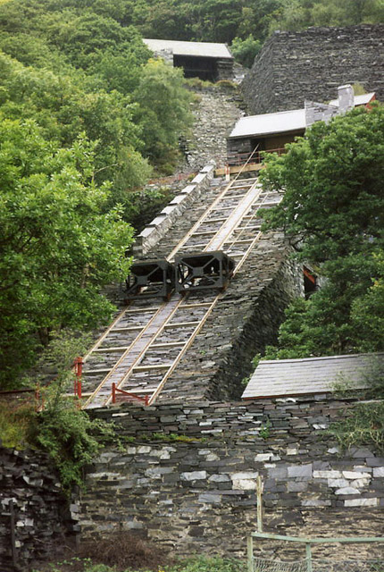 Trwnc incline at the Vivian Quarry[1] showing two permanently attached platform wagons. Slate trucks were pushed onto the horizontal tops of these wagons to travel on the incline