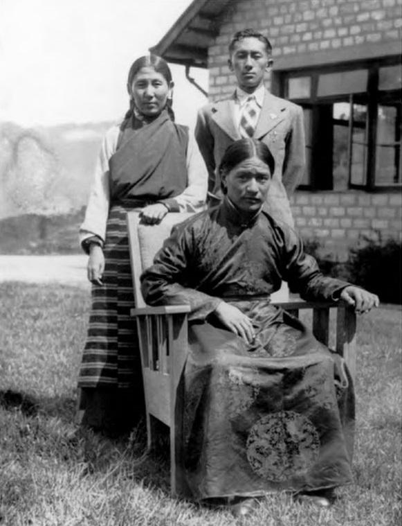 Dudjom Rinpoche with Prince Paljor Namgyal and Maharani Kunzang Dechen Tshomo Namgyal