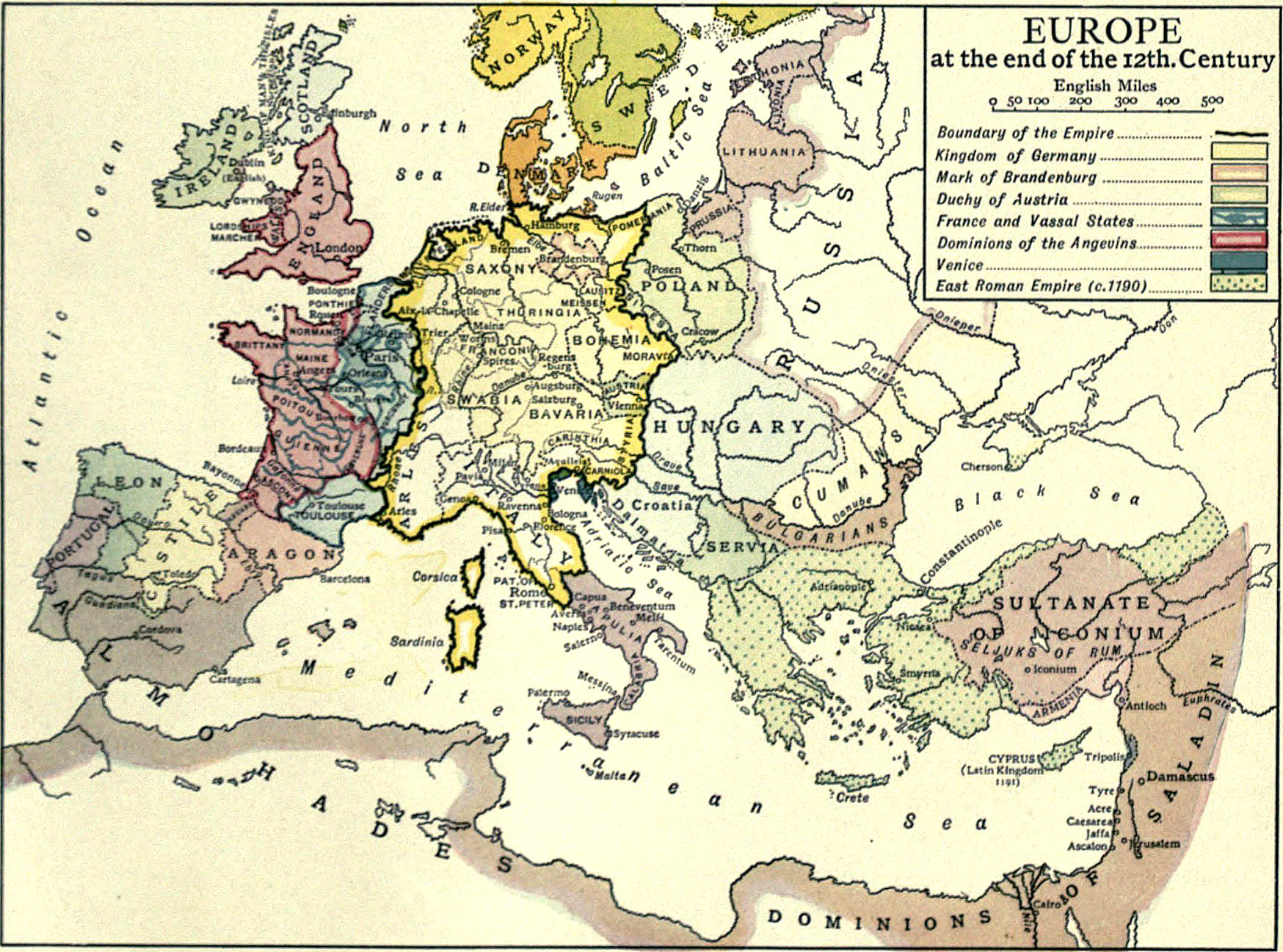 map of 12th century europe File:EB1911 Europe   End of 12th Century.   Wikisource, the