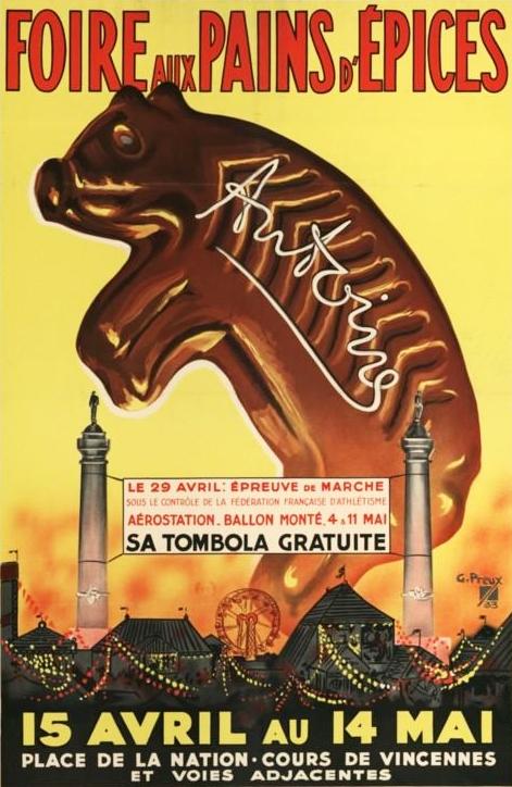 Ranskalaisten piparimarkkinoiden juliste ennen sotia.