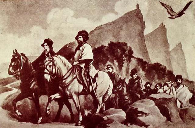 Ficheiro:Giuseppe e Anita Garibaldi trovano rifugio a San Marino.JPG