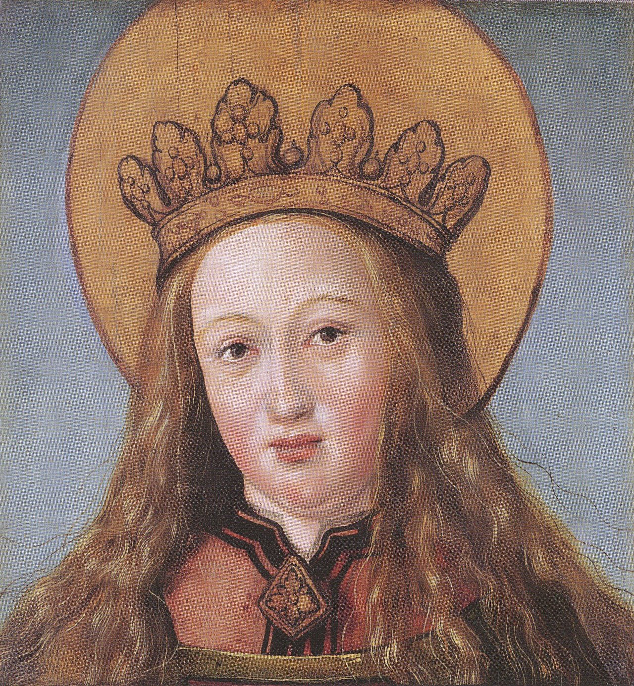 file head of a female saint by hans holbein the younger jpg