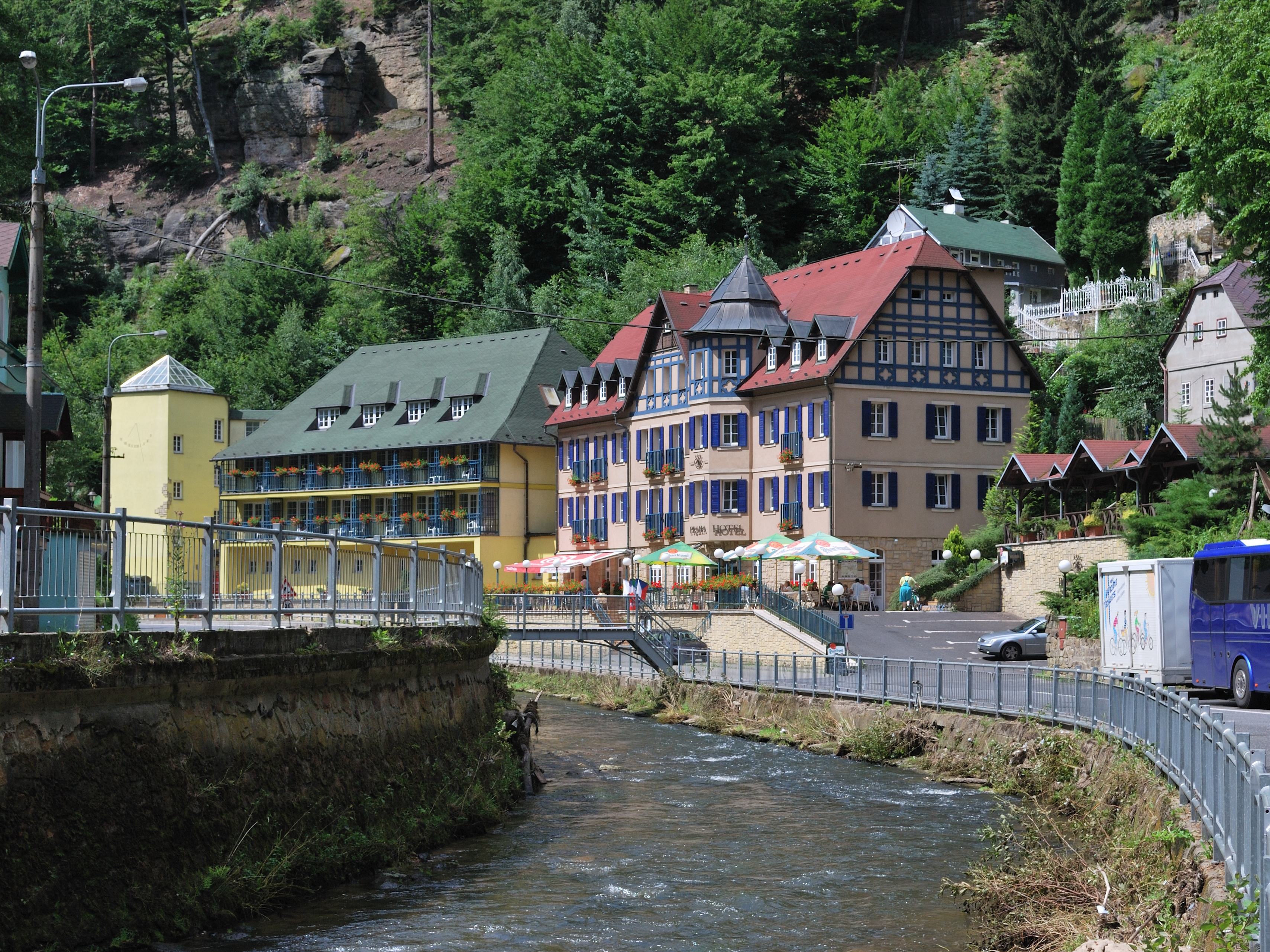 The village Hřensko at the river Kamenice in t...