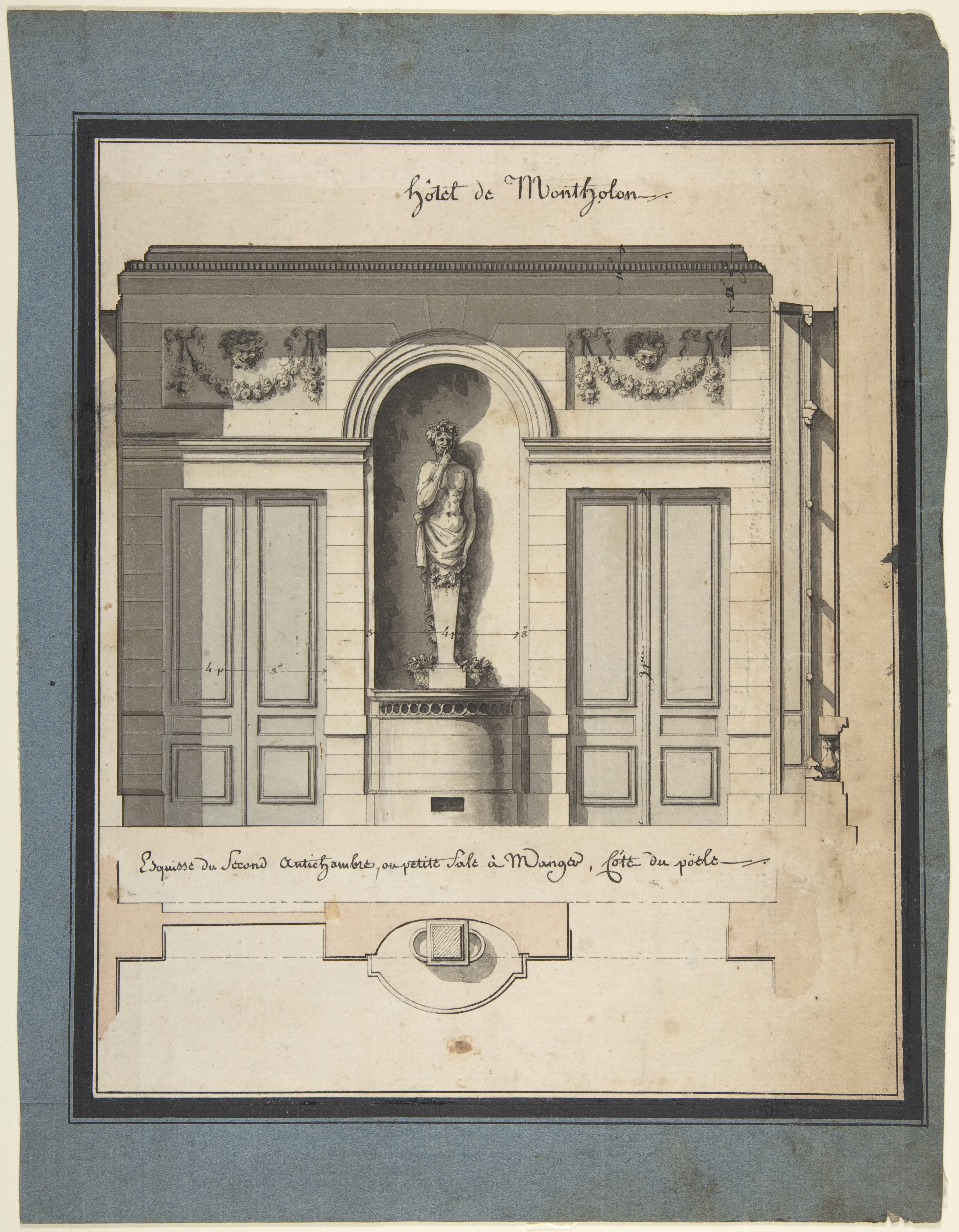 File:Jean Jacques Lequeu, Section and Plan of the Small Dining Room of the Hôtel de Montholon 2 ...