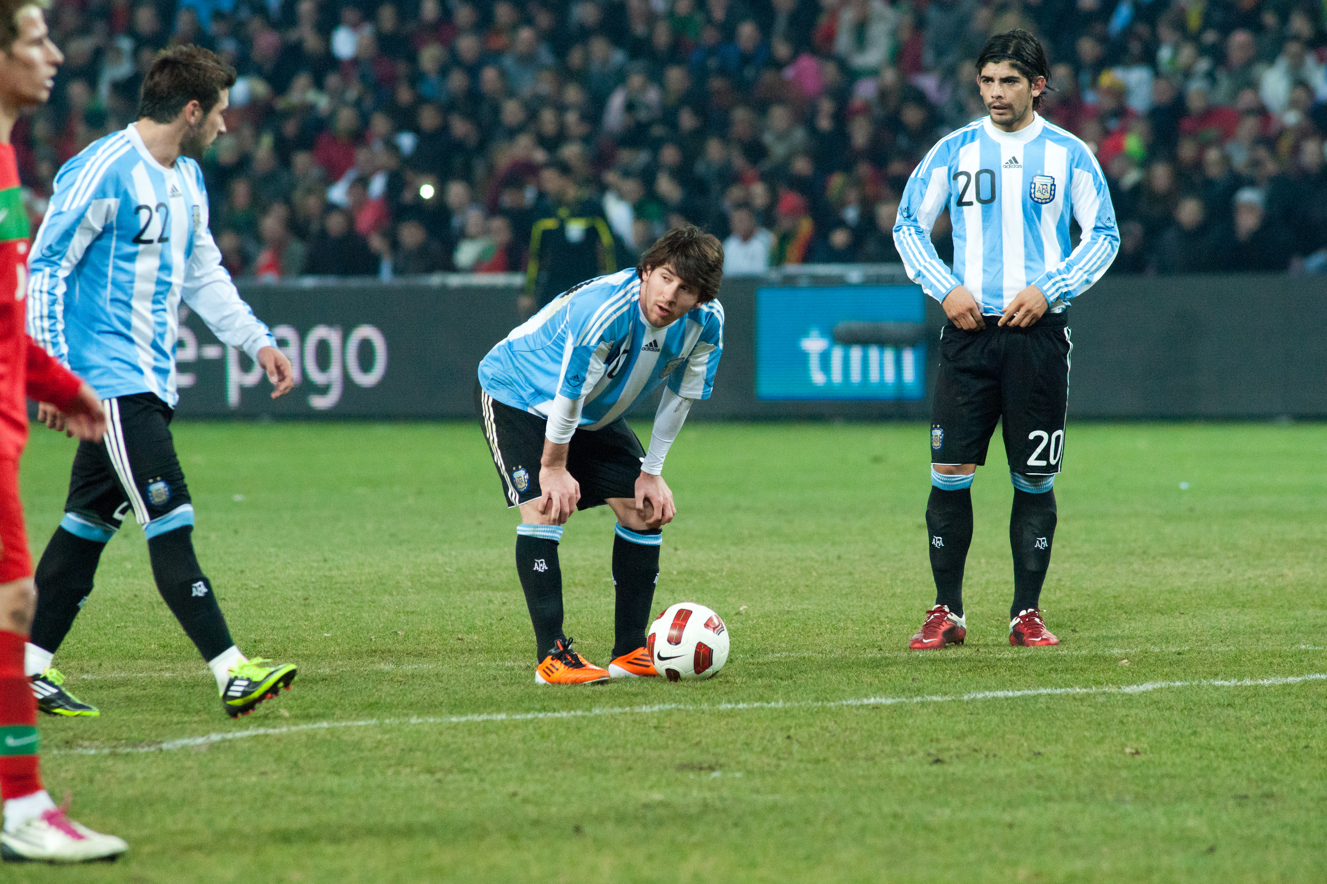 Filelionel Messi Getting Ready To Shoot A Free Kick Portugal Vs Argentina Th February