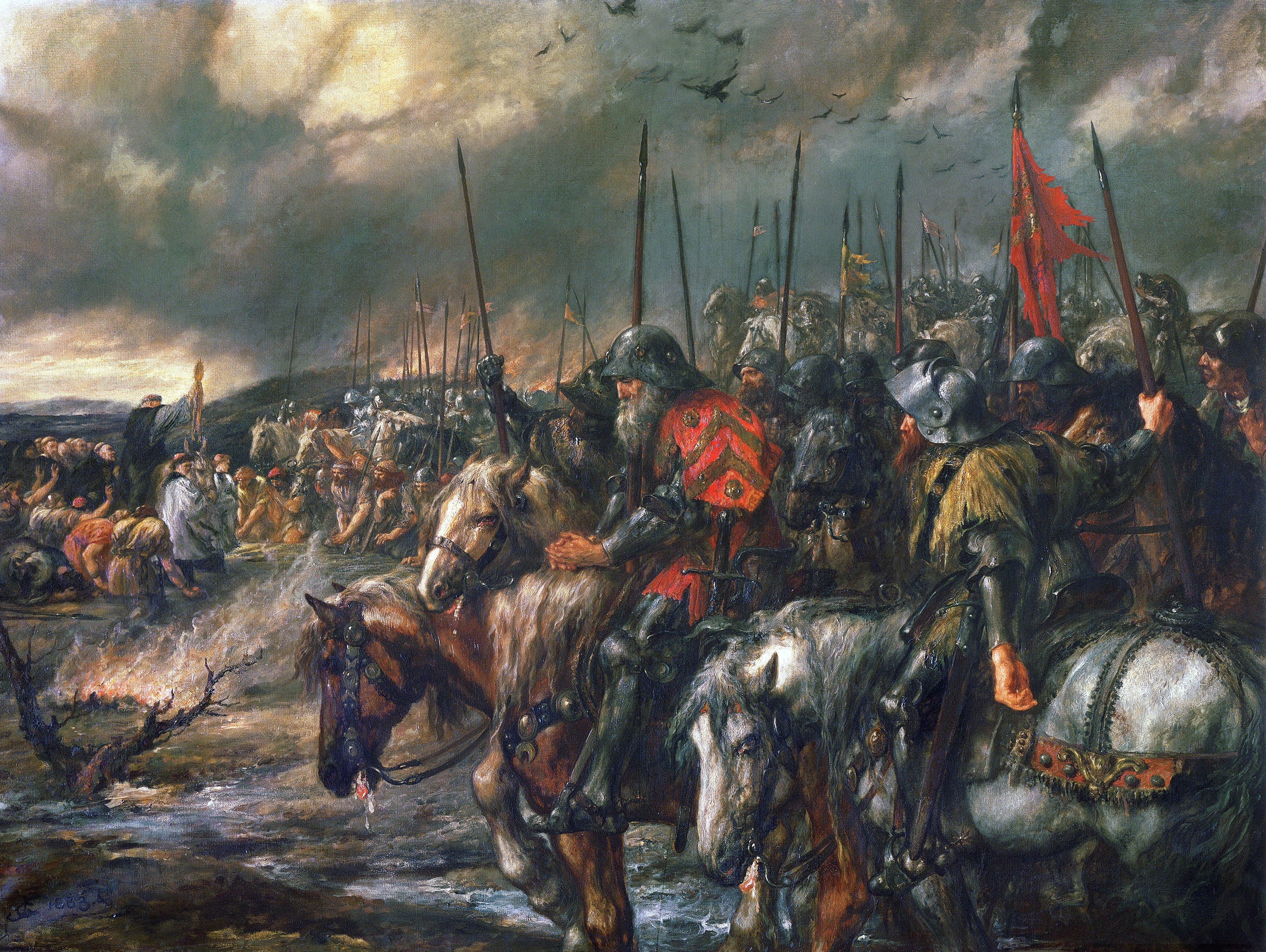 Bataille d'Azincourt le vendredi 25 octobre 1415 pendant la guerre de Cent Ans Morning_of_the_Battle_of_Agincourt%2C_25th_October_1415