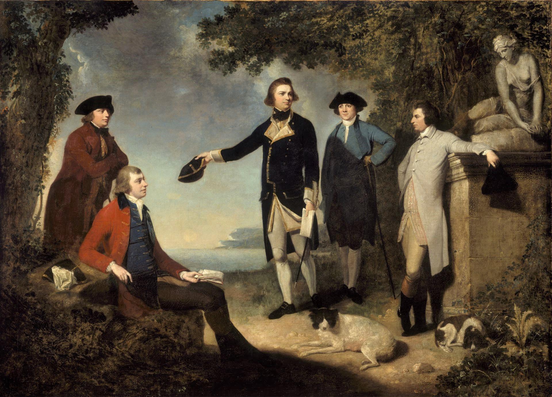 Mortimer - Captain James Cook, Sir Joseph Banks, Lord Sandwich, Dr Daniel Solander and Dr John Hawkesworth.jpg