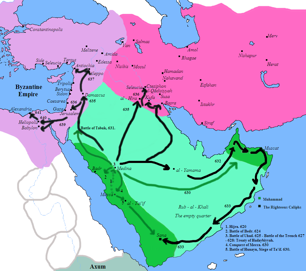 Conquests of Prophet Muhammad and the Rashidun...