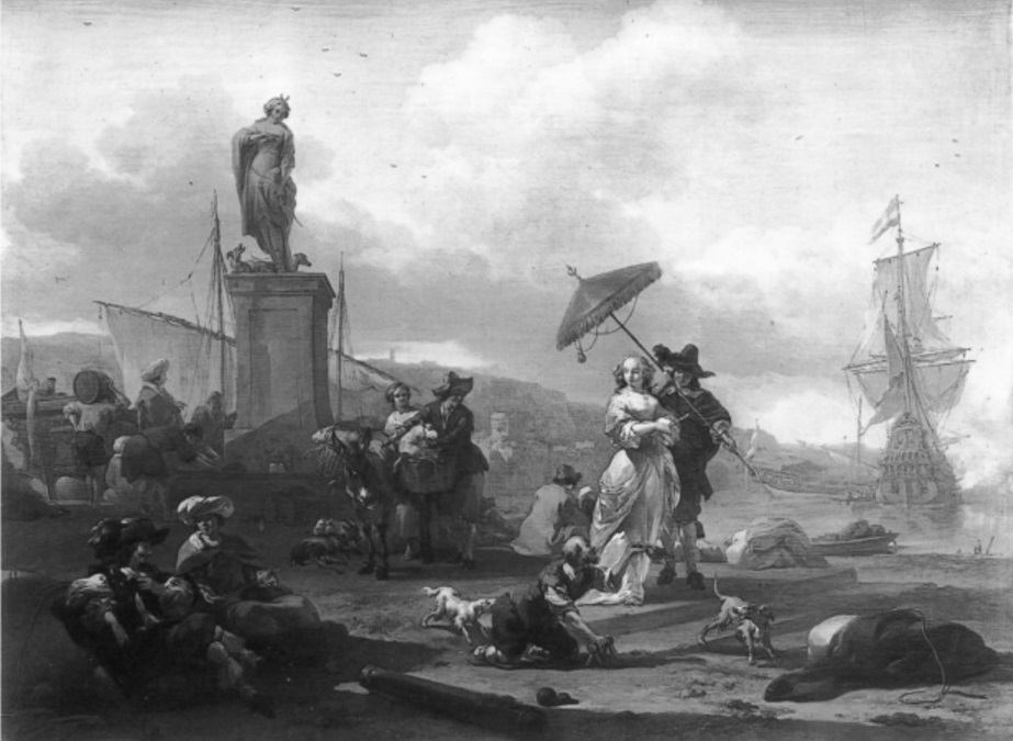 Italian port with peasants and a couple with a parasol