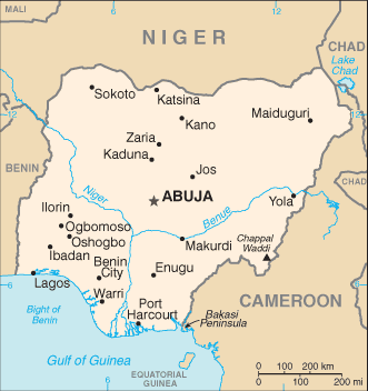 An enlargeable basic map of Nigeria
