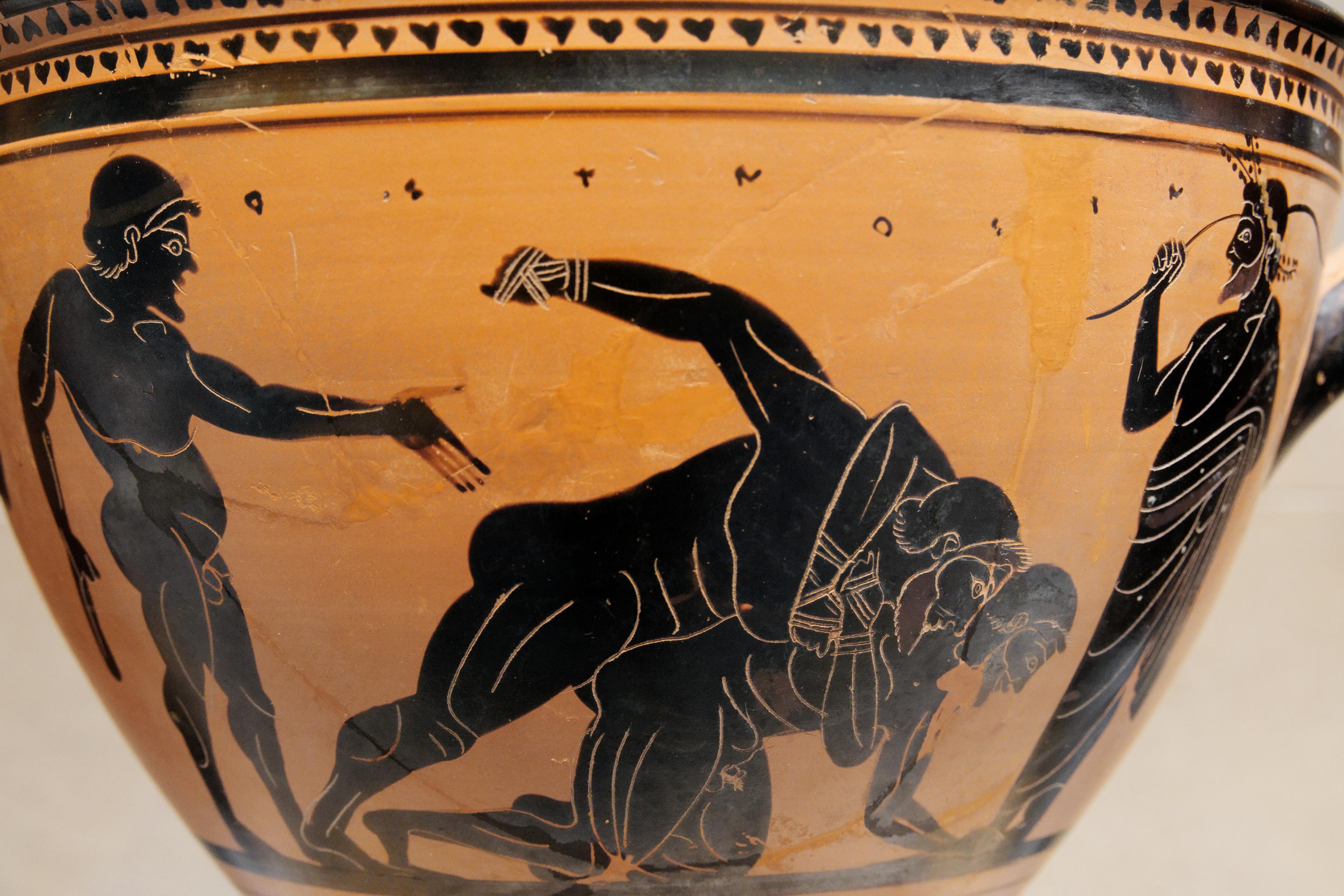 борцы рисунок на древнегреческой вазе древняя порода