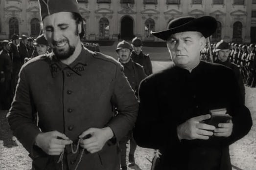 Emile Meyer (right) and [[Timothy Carey]] in ''[[Paths of Glory]]''