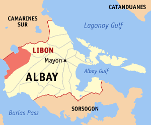 Map of Albay showing the location of Libon