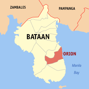 Map of Bataan showing the location of Orion.