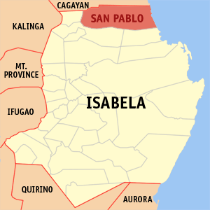 Map of Isabela showing the location of San Pablo