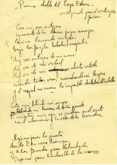 Manuscrito de Poema doble del lago Eden (Poeta en Nueva York)