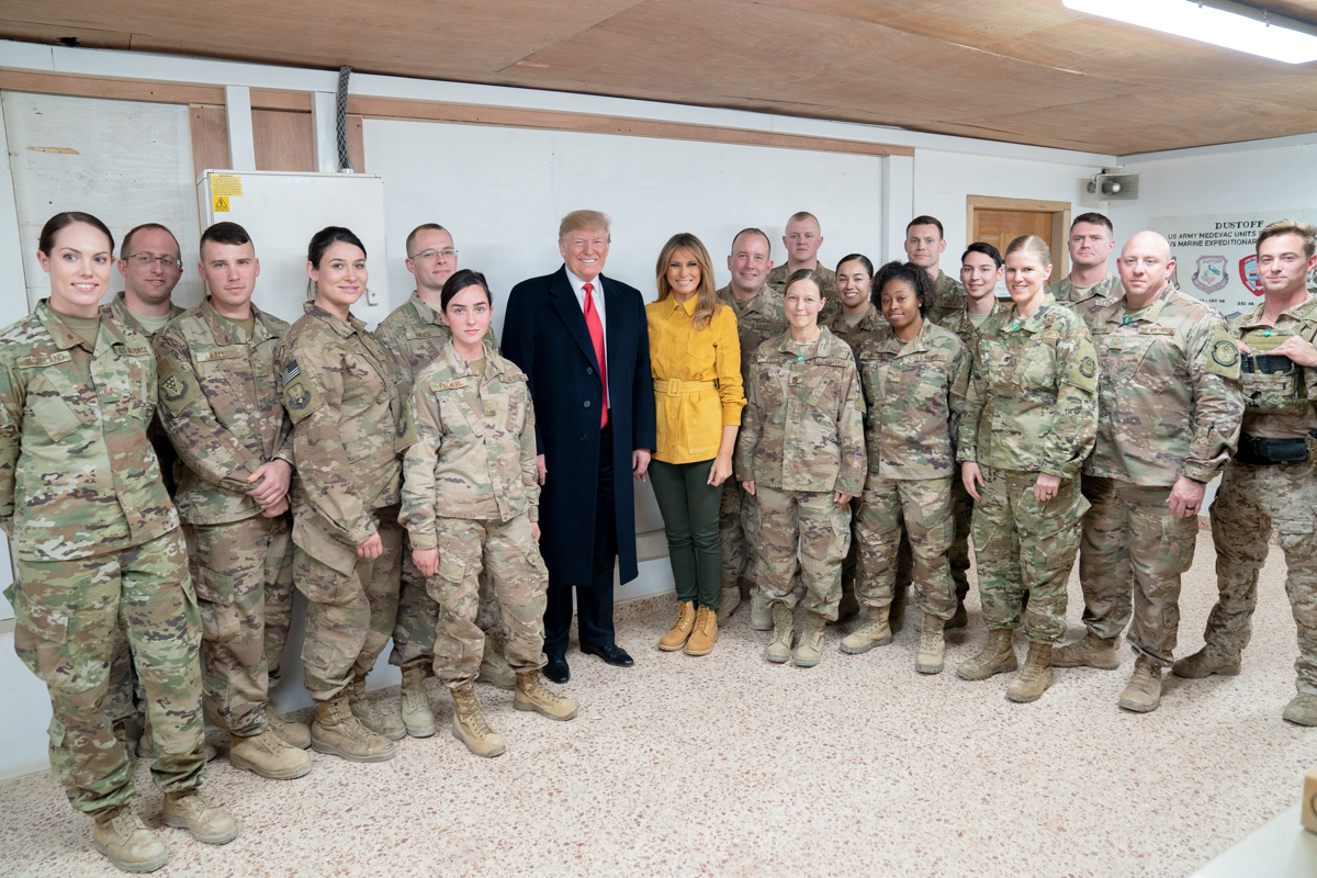 File:President Trump the First Lady Visit Troops in Iraq