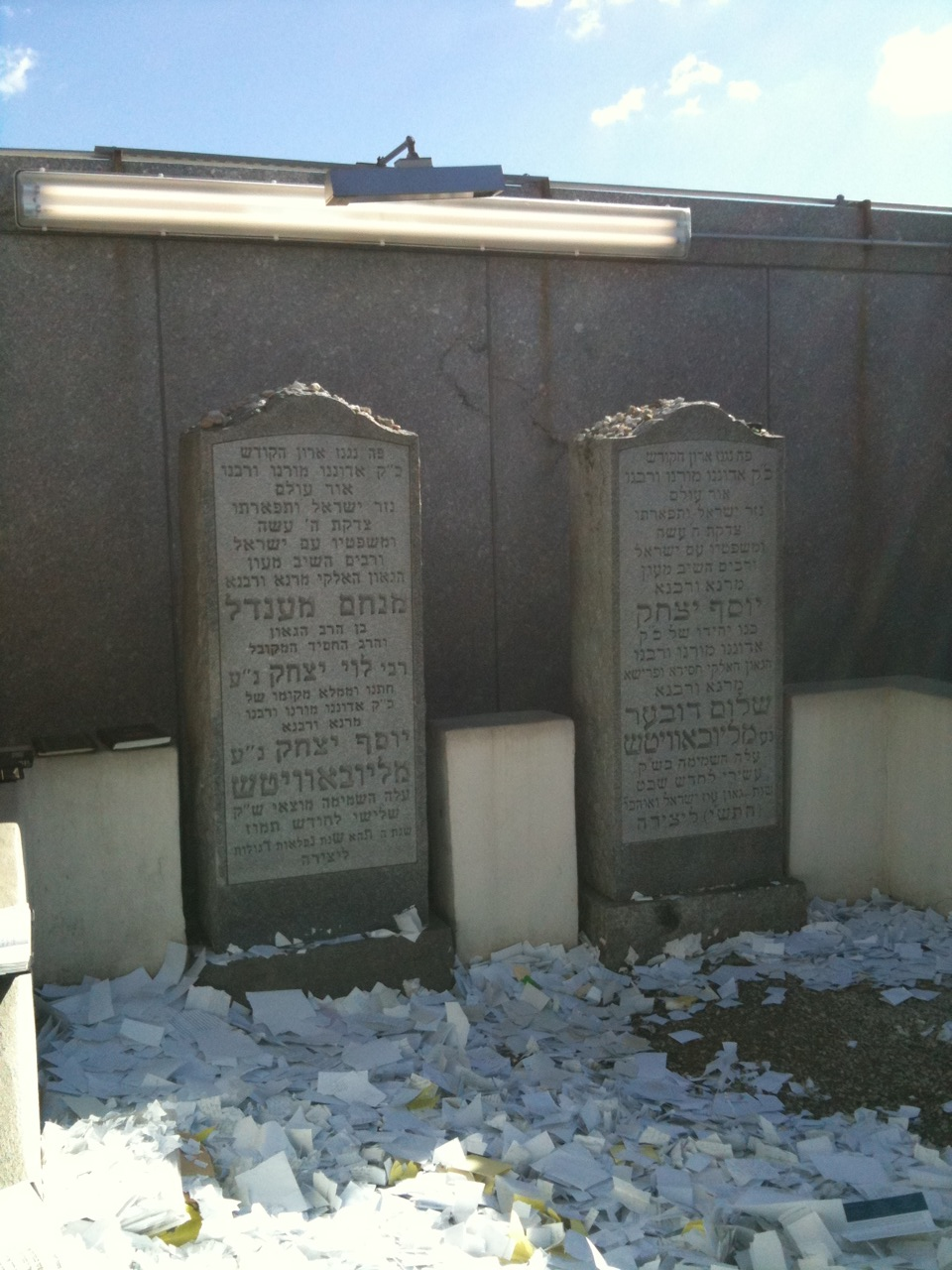The Rebbe's tomb next to that of his father-in-law, Rebbe Yosef Yitzchok Schneersohn.