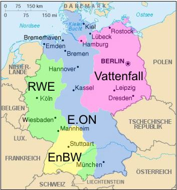 Die Einflussgebiete der vier großen Energieversorger Deutschalnds