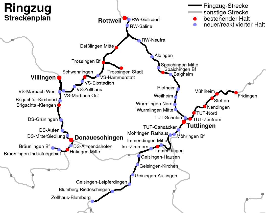 Liniennetzplan des Ringzugs