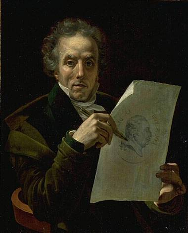 Self-portrait of the artist designing the portrait of Louis XVIII, 1815-1817 Roques, Self-portrait.jpg