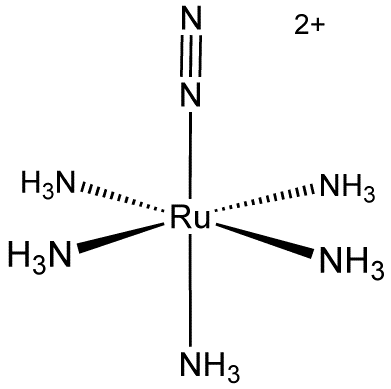 Structure of [Ru(NH3)5(N2)] (pentaamine(dinitrogen)ruthenium(II)), the first dinitrogen complex to be discovered RuA5N2.png