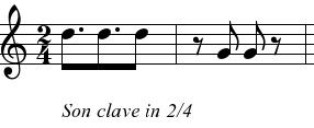 Clave de son 3-2, en notación musical