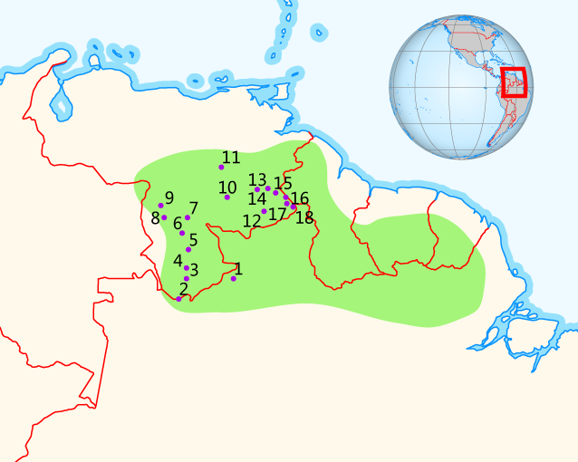 Guiana Highlands Map File:Summits of the Guiana Highlands.png   Wikimedia Commons