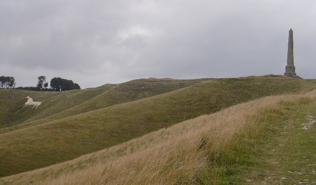 The Cherhill White Horse and the Landsdowne Monument - geograph.org.uk - 220141