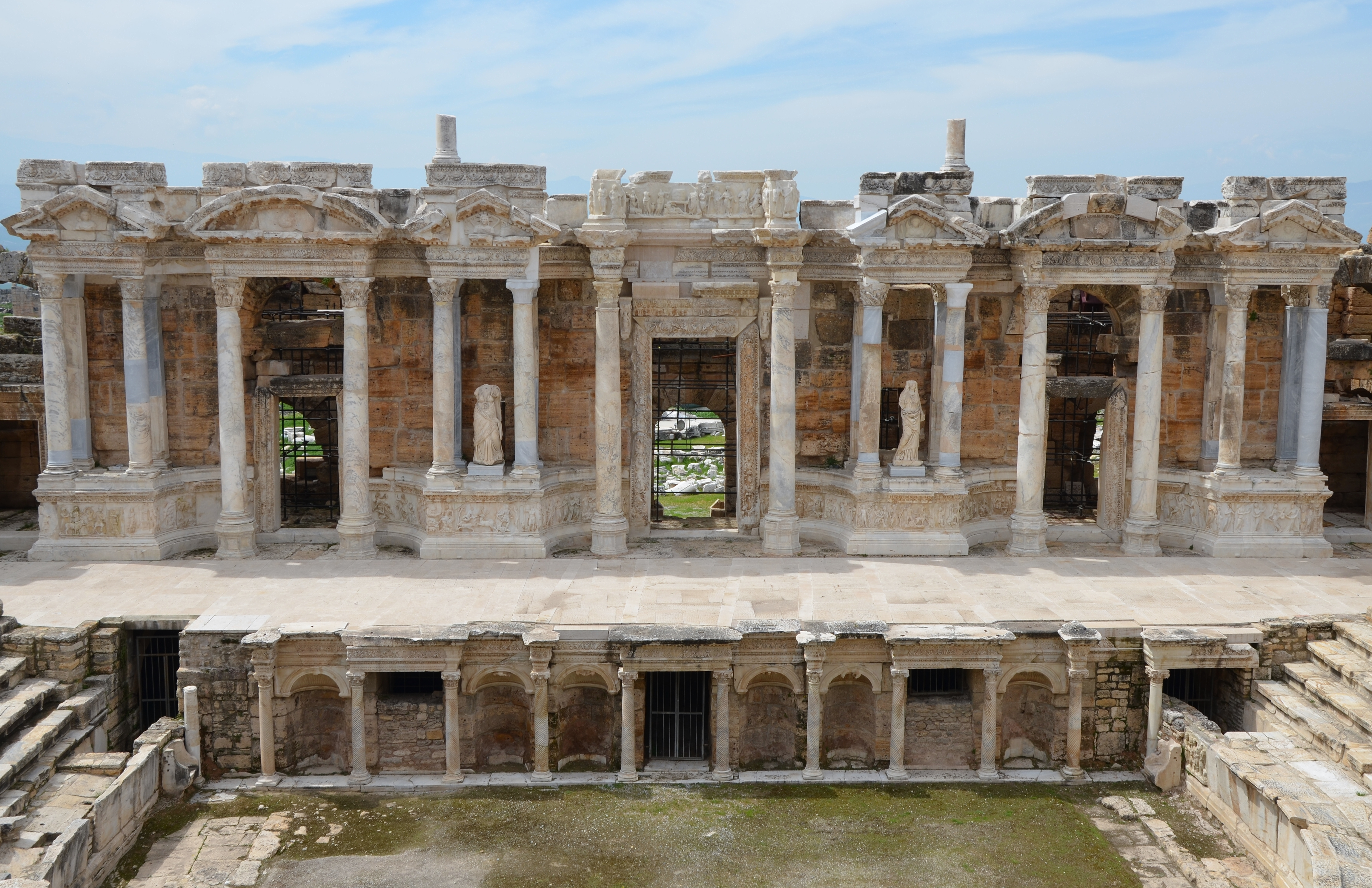 2nd century AD under Hadrian on the ruins of an earlier theatre, later renovated under Septimius Severus, Hierapolis, Turkey (16601191263).jpg The Roman