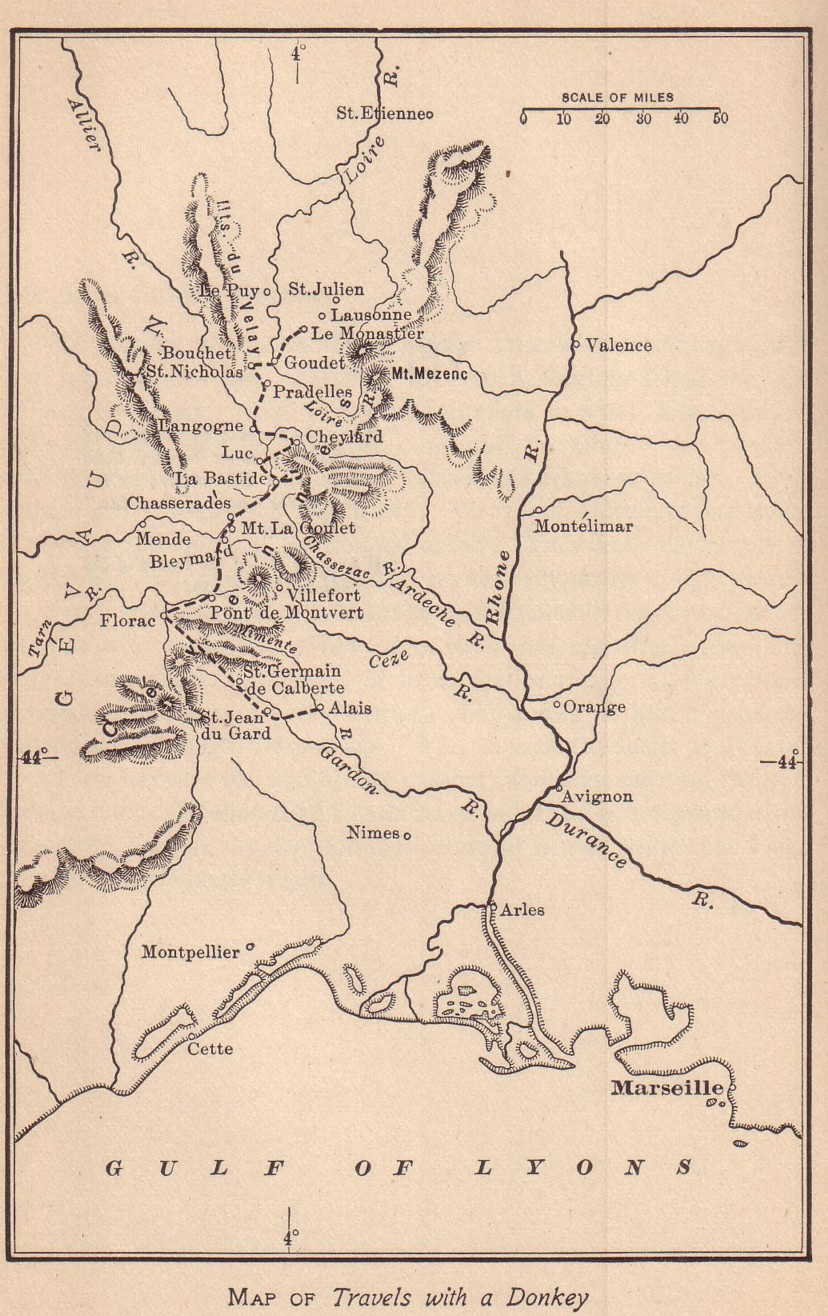 Map of Stevenson's Travels with a Donkey in the Cévennes(source: Wikipedia)