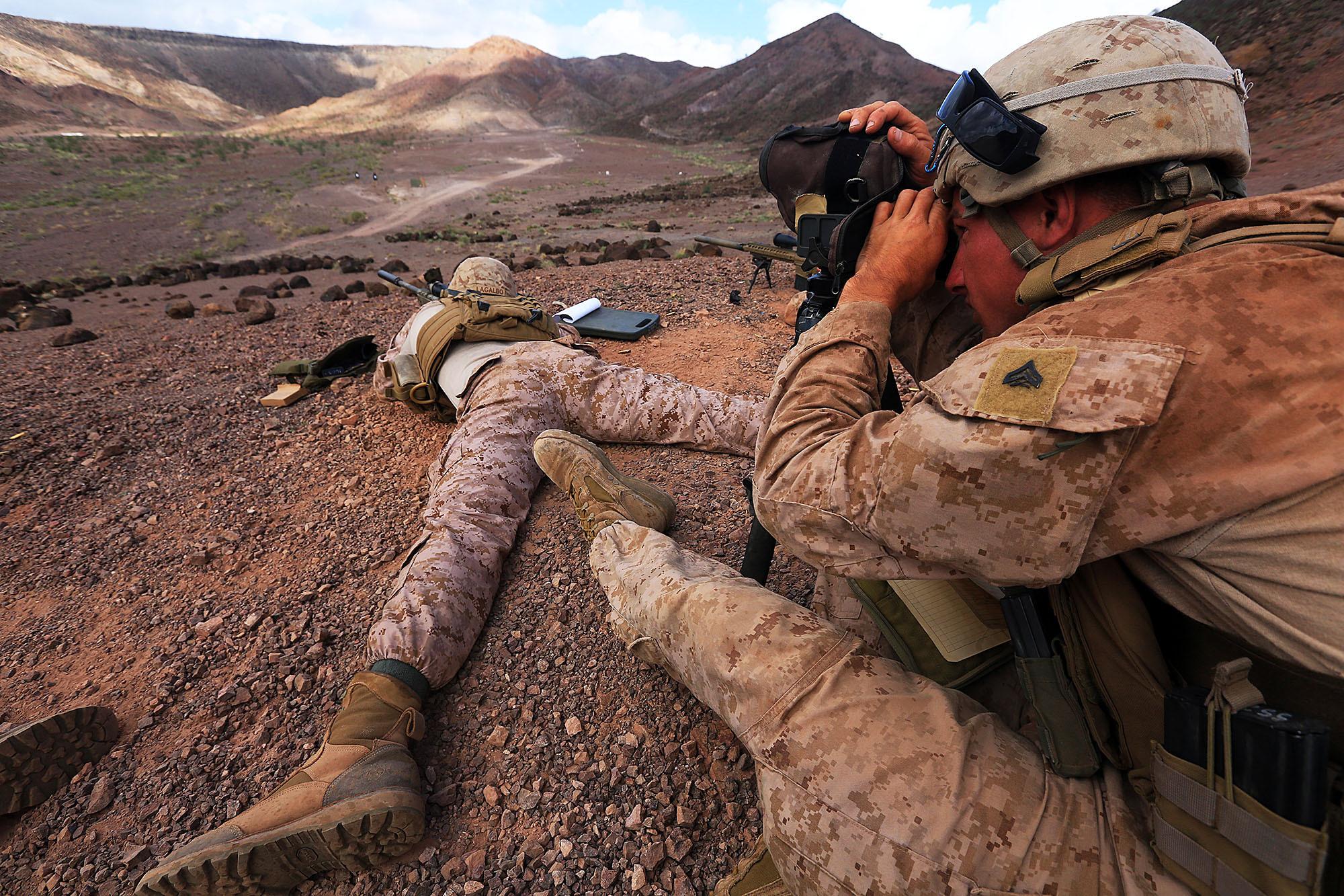 File:U.S. Marine Corps Cpl. Matt Wagoner, right, a scout sniper ...