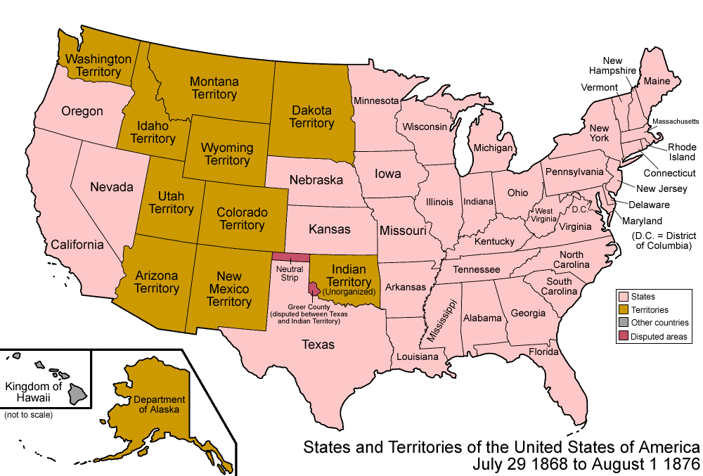 Organized Incorporated Territories Of The United States Wikipedia - Map of us by date of admission