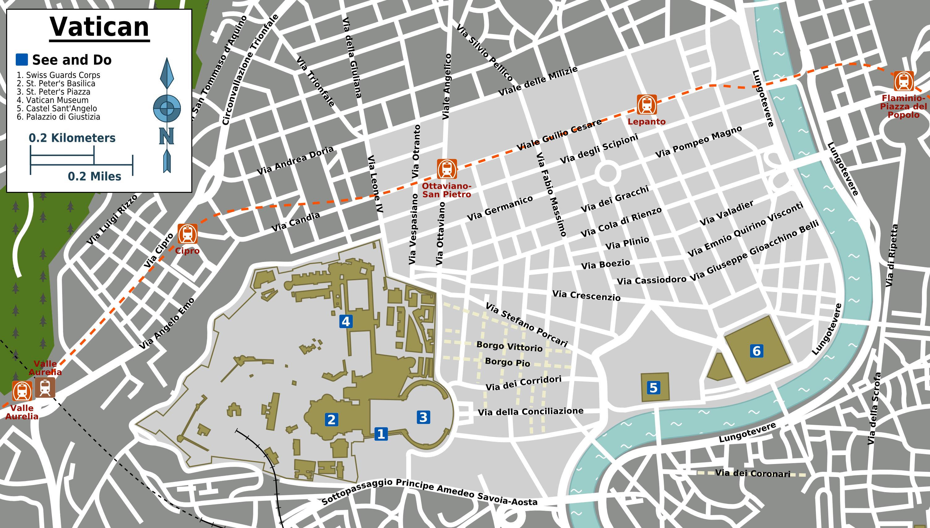 Rome Vatican Map - Vatican city rome map