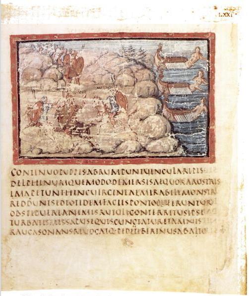 File:Vergilius Vaticanus f71r - Les Vaisseaux changés en nymphes.jpg