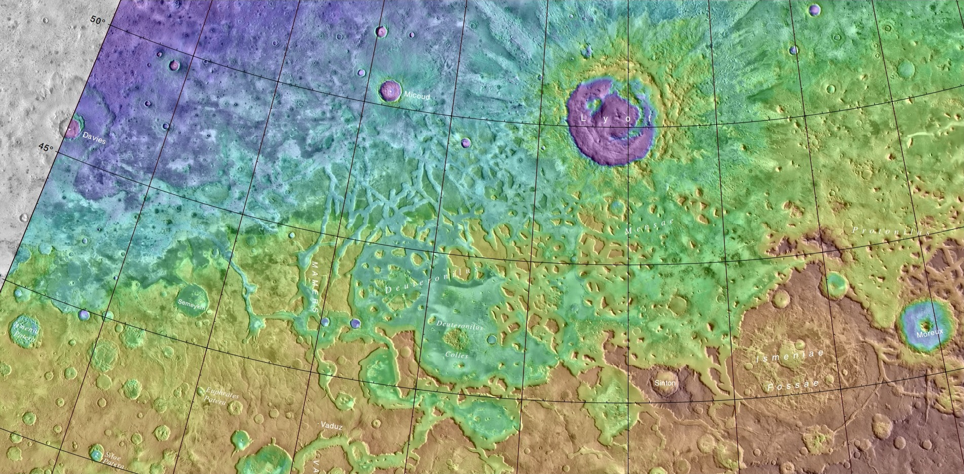 MOLA map of Lyot and other nearby craters. Colors indicate elevations.