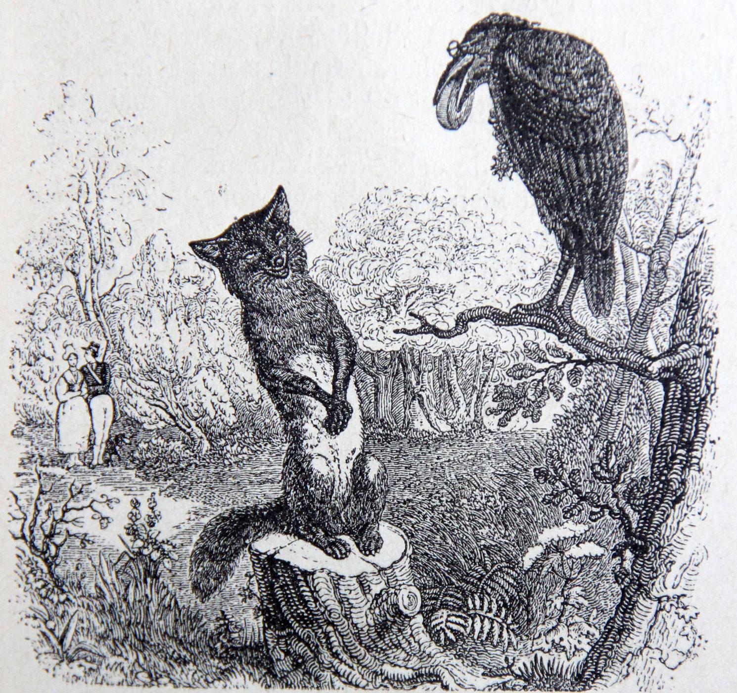 gravure, illustration pour la fable de La Fontaine Le corbeau et le renard