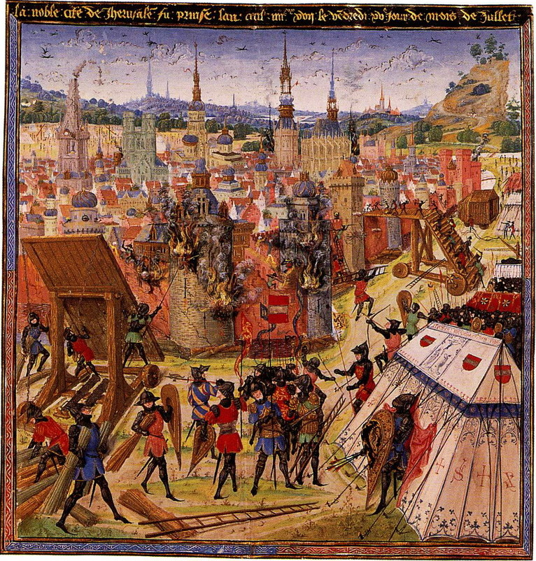 alt=A depiction of the capture of Jerusalem in 1099 from a medieval manuscript. The burning buildings of Jerusalem are centered in the image. The various crusaders are surrounding and besieging the village armed for an attack.