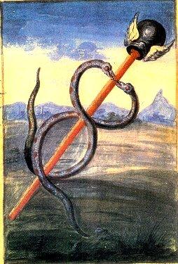 Allégorie alchimique (extraite de l'ouvrage Alchimie de Nicolas Flamel, par le Chevalier Denys Molinier XVIIIesiècle) représentant le caducée: bâton rouge surmonté d'un casque muni d'ailes (celui du dieu Hermès, patron des guérisseur) et autour duquel s'enroulent deux serpents qui finissent par former une seule et même figure. En arrière-plan se détache un paysage bucolique.