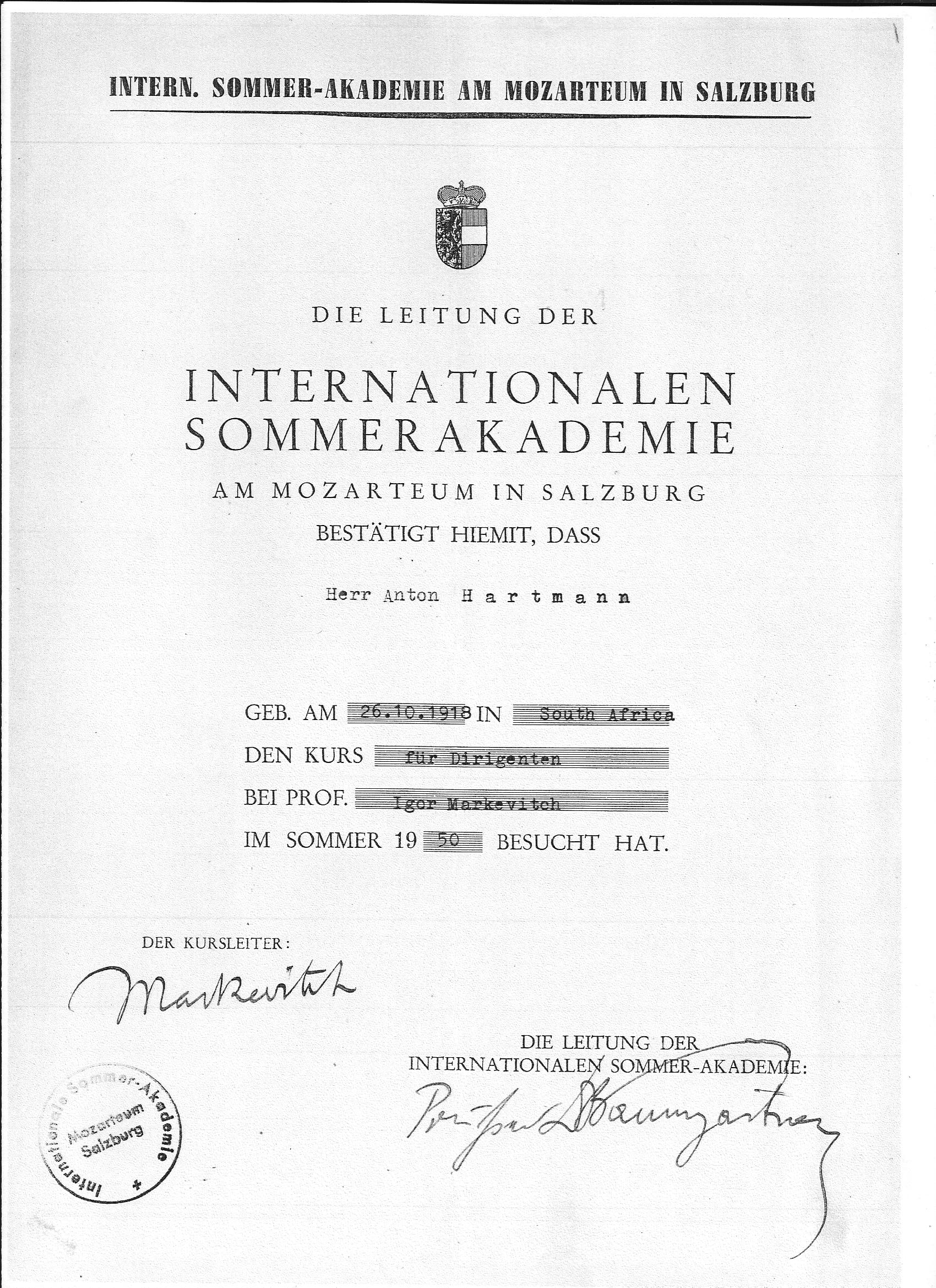 Fileanton hartmans certificate attendance of the international fileanton hartmans certificate attendance of the international summer music academyg xflitez Choice Image