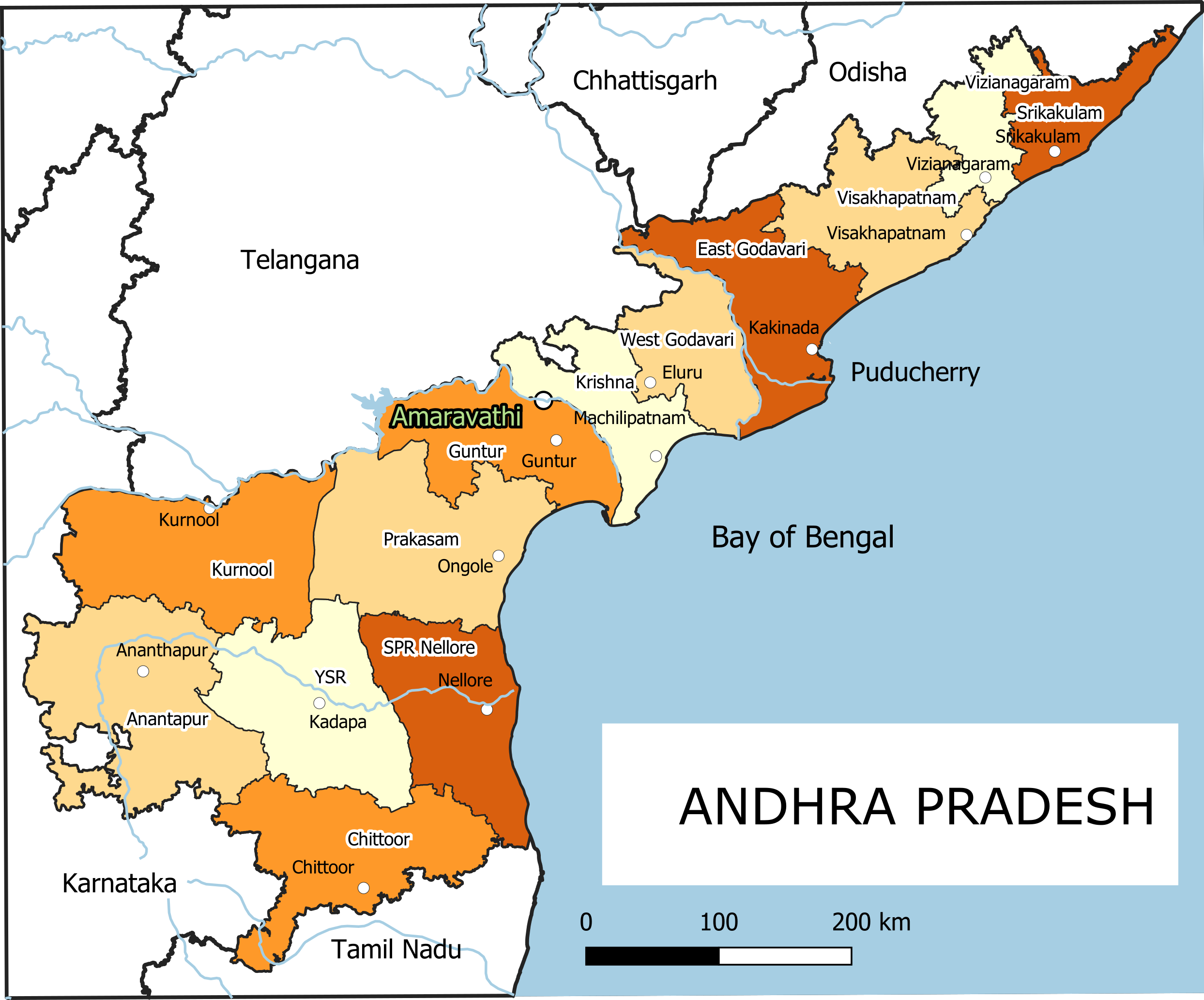 outline telangana andhra pradesh map List Of Districts Of Andhra Pradesh Wikipedia outline telangana andhra pradesh map