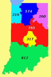Area code that serves northwest Indiana