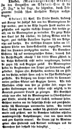 Newspiece of attack against Trieshi and Koja by Montenegro in the Austro-Hungarian newspaper Tagespost Graz, May 14 1862.