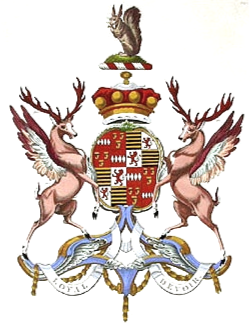 Quartered arms of Henry Carteret, 1st Baron Carteret (1735-1826): 1st & 4th grand quarters: 1st & 4th Gules, four fusils conjoined in fess argent (Carteret); 2nd & 3rd: Gules, three clarions or (Granville); 2nd & 3rd grand quarters: 1st & 4th: Barry of ten or and sable (Botteville); 2nd & 3rd: Argent, a lion rampant with tail nowed and erect gules (Thynne) Baron Carteret coa.png