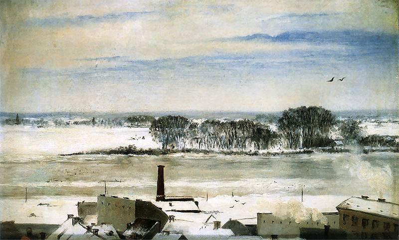 > Quartier de Saska Kepa à Varsovie en hiver au 19e siècle, toile de Anna Bilińska-Bohdanowicz.
