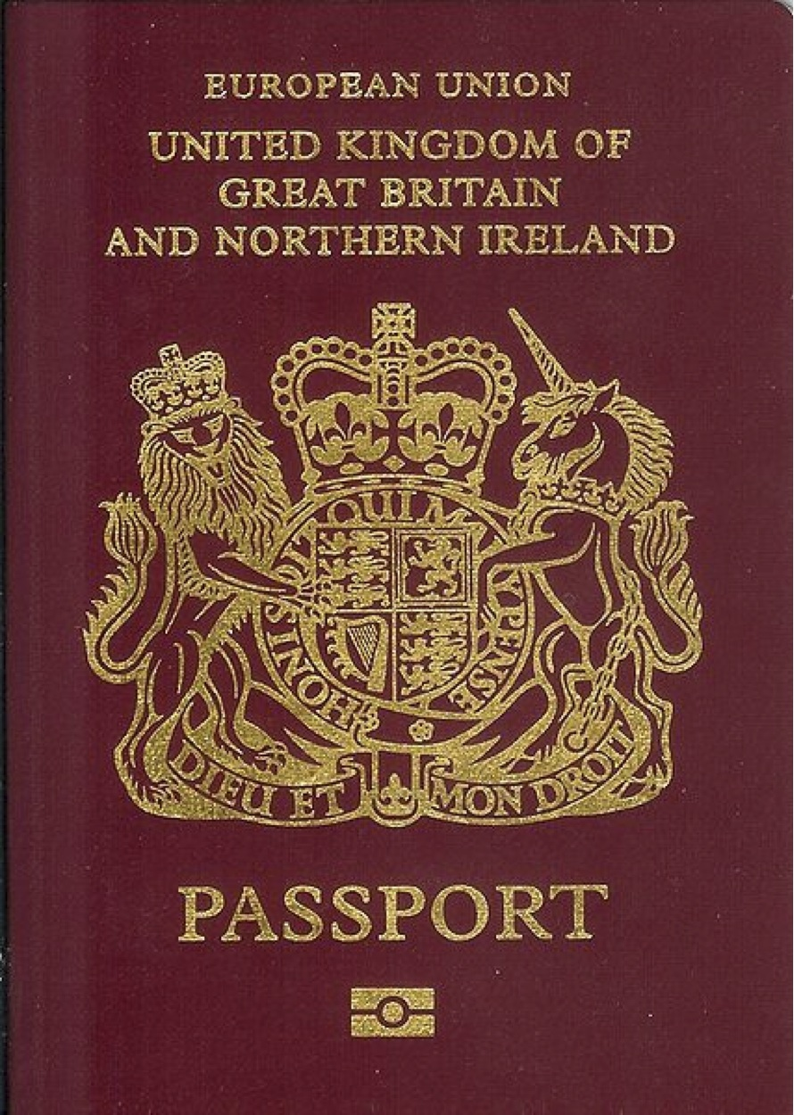 A British biometric passport.