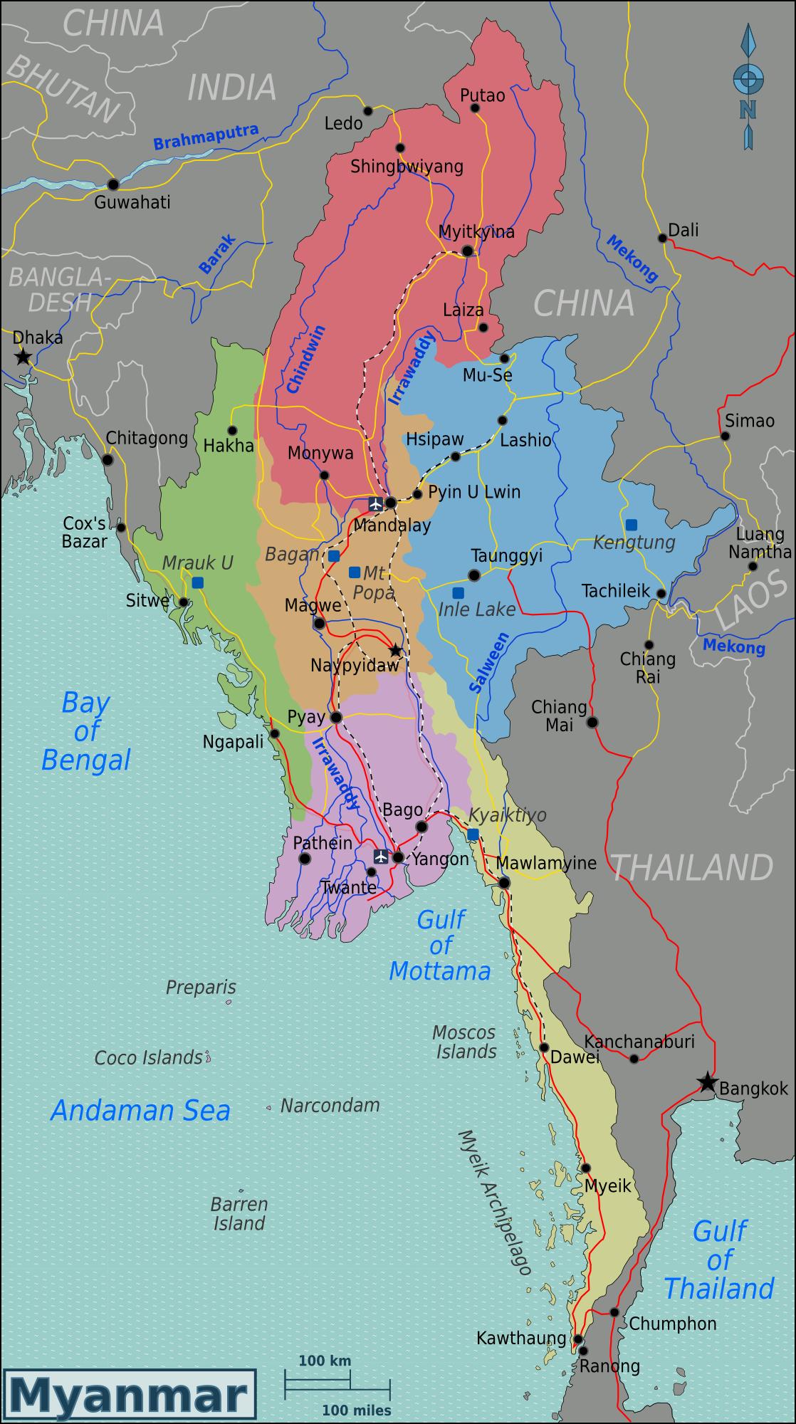 Birmanie Carte Regions.File Burma Regions Map Png Wikimedia Commons
