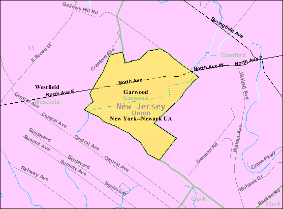 Census Bureau map of Garwood, New Jersey