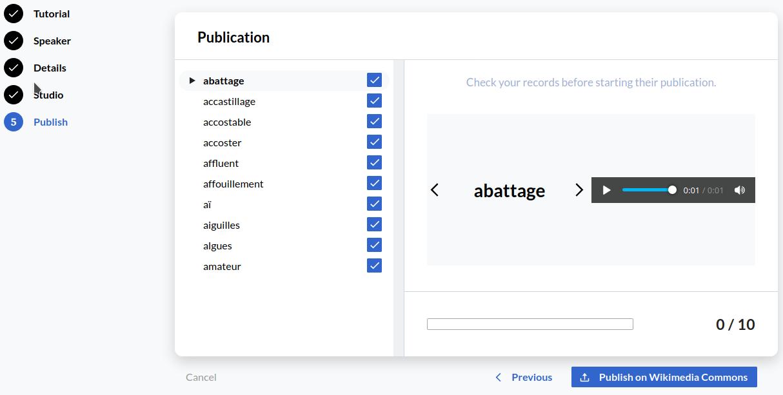 Screenshot of records to check on Lingua Libre